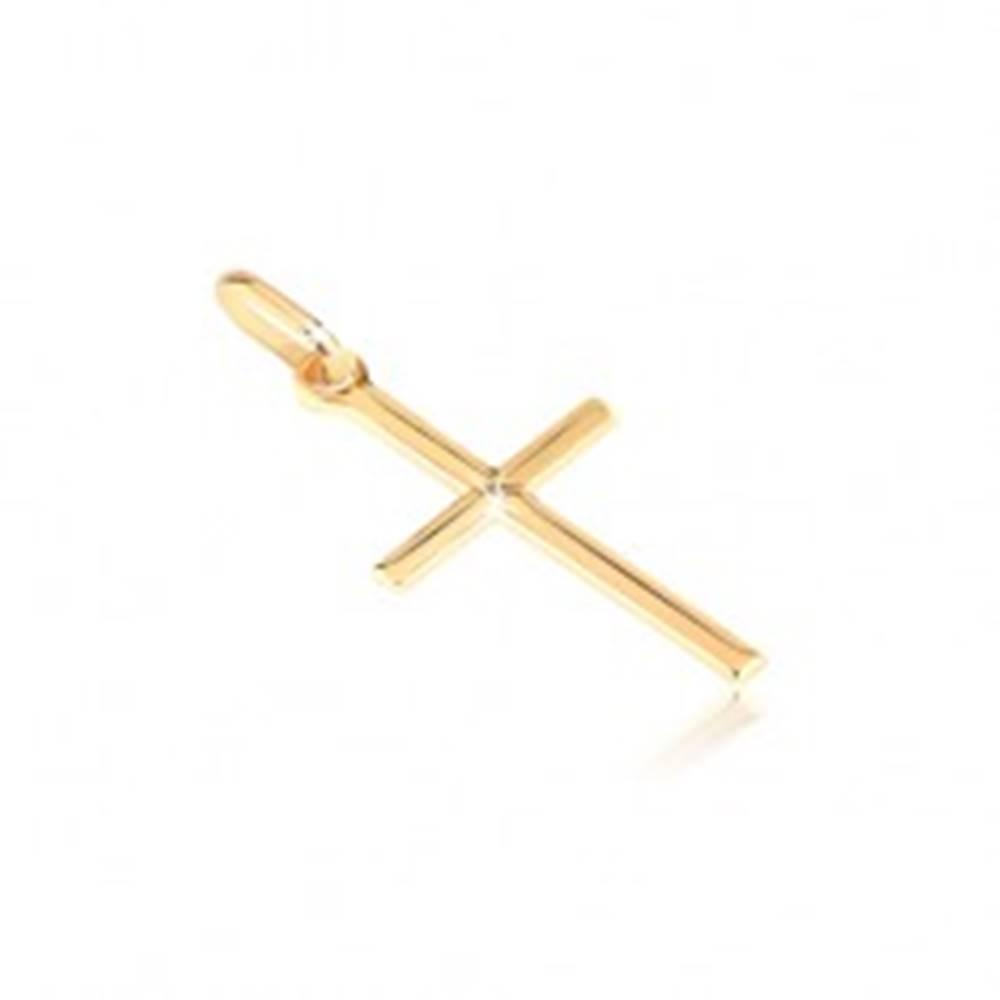 Šperky eshop Zlatý prívesok 585 - malý lesklý kríž s gravírovaným X