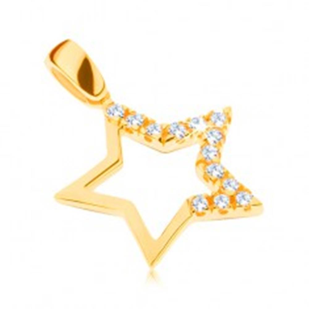 Šperky eshop Zlatý prívesok 585 - veľká hviezda s brúsenými zirkónmi na troch cípoch