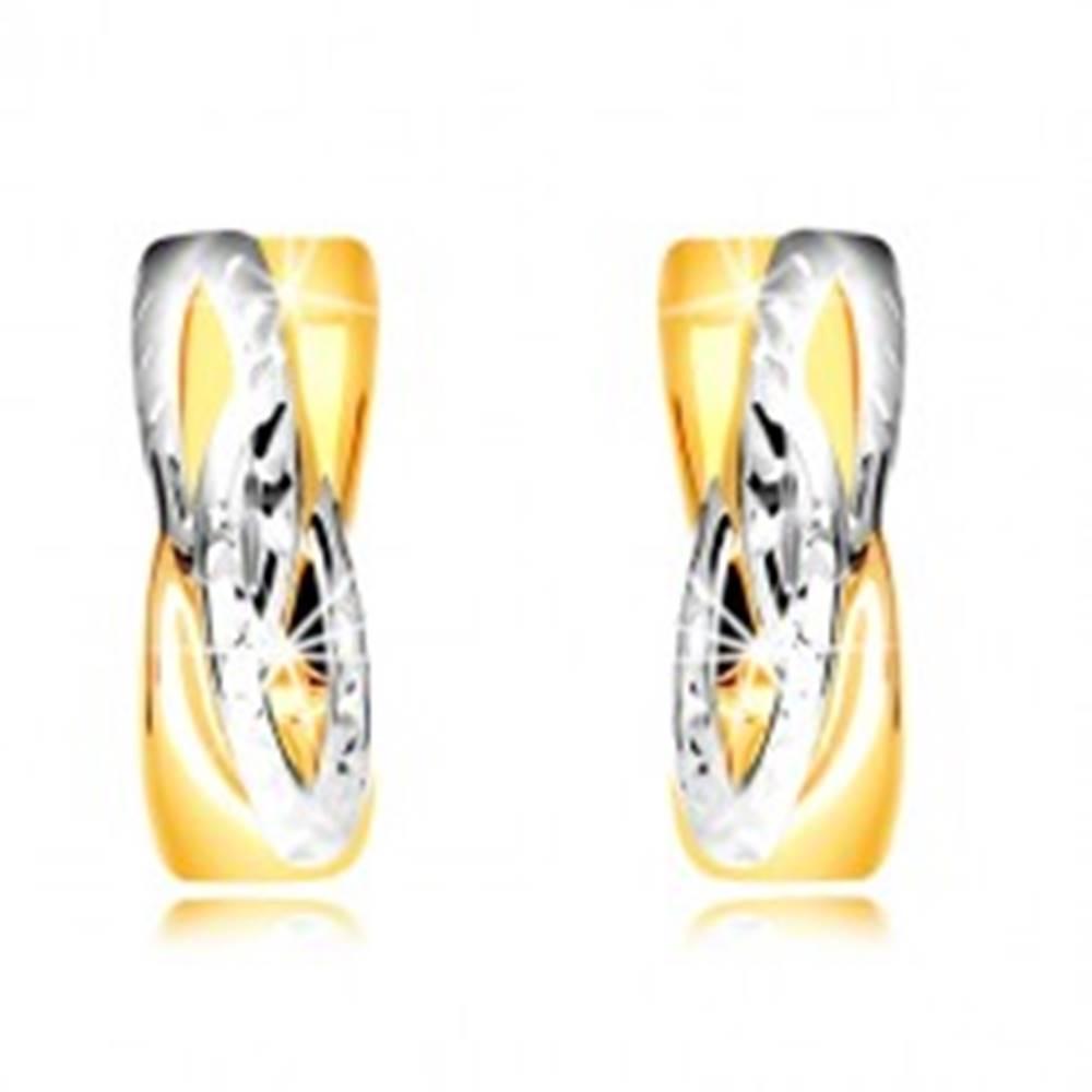 Šperky eshop Náušnice v kombinovanom zlate 585 - krúžky so šikmým prepleteným vzorom