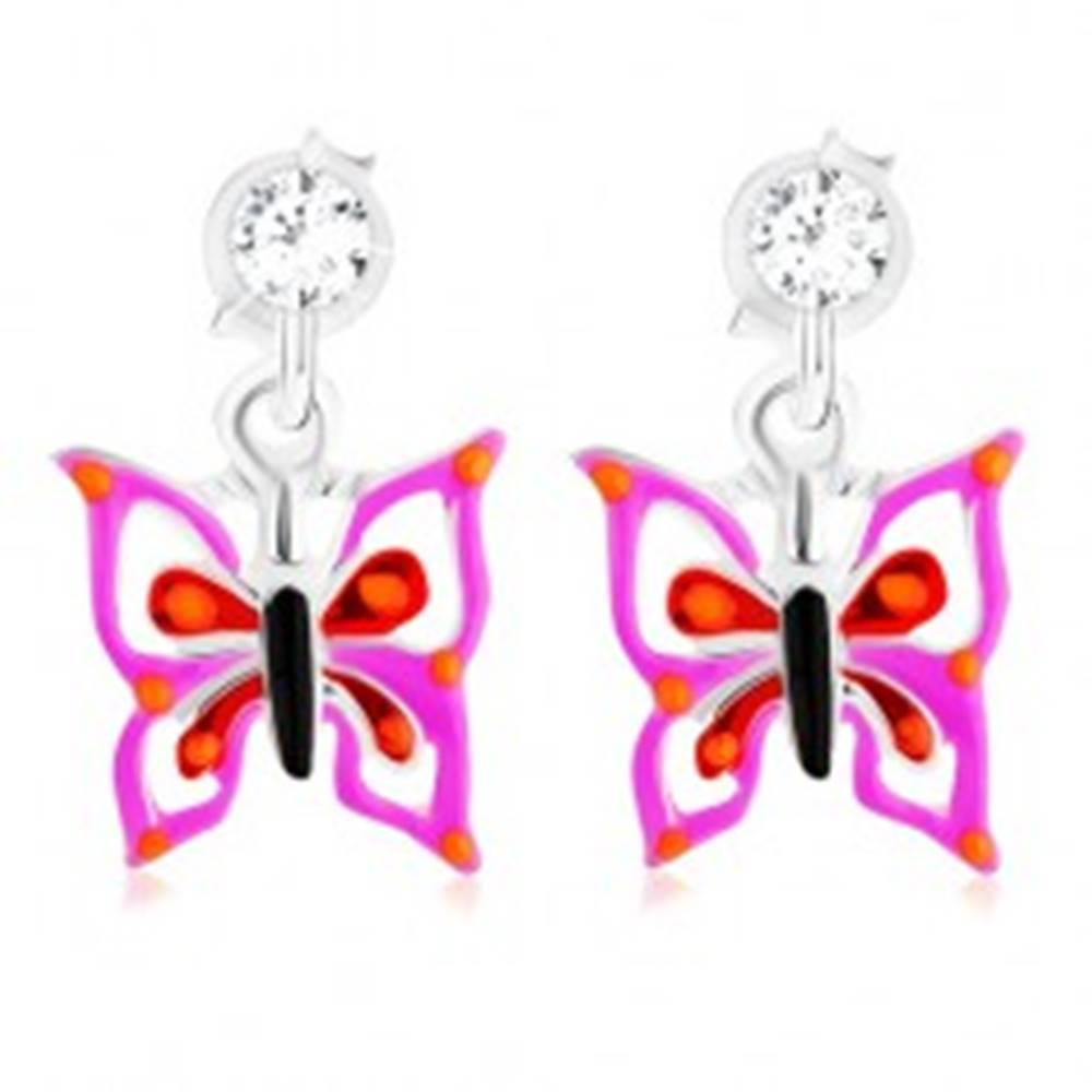 Šperky eshop Puzetové strieborné 925 náušnice, motýlik vo fialovo-červenom odtieni, krištálik