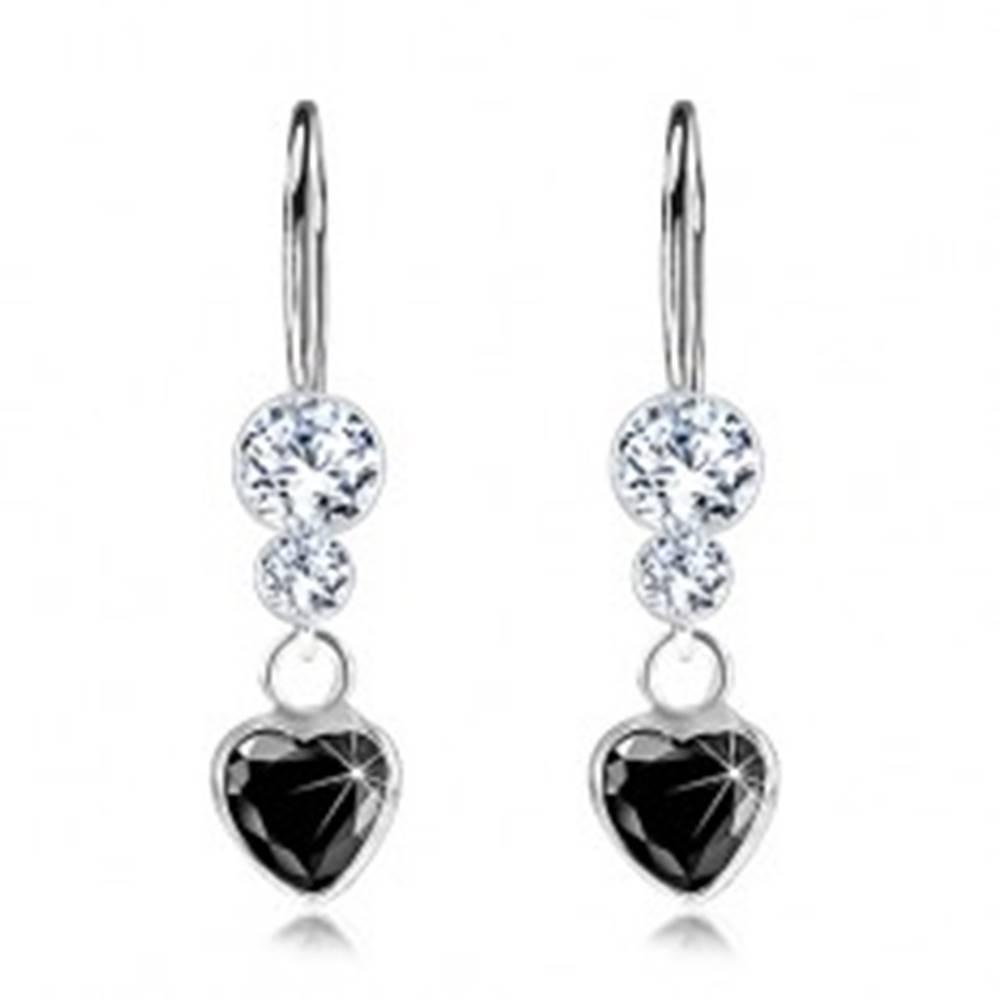 Šperky eshop Strieborné 925 náušnice, čierne zirkónové srdiečko, číre krištále Swarovski