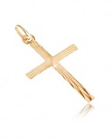 Prívesok zo zlata 14K - veľký latinský kríž, lúčovité zárezy