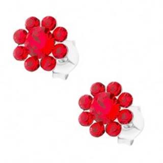 Strieborné 925 náušnice, kvietok z červených Preciosa krištáľov