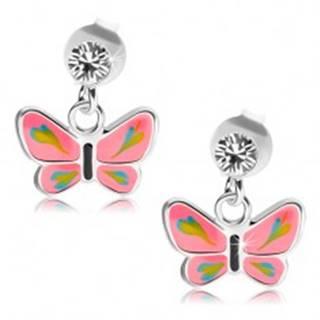 Strieborné náušnice 925, číry Swarovského krištáľ, motýlik s ružovými krídlami