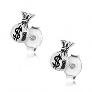 Strieborné náušnice 925, lesklý mešec, symbol amerického dolára