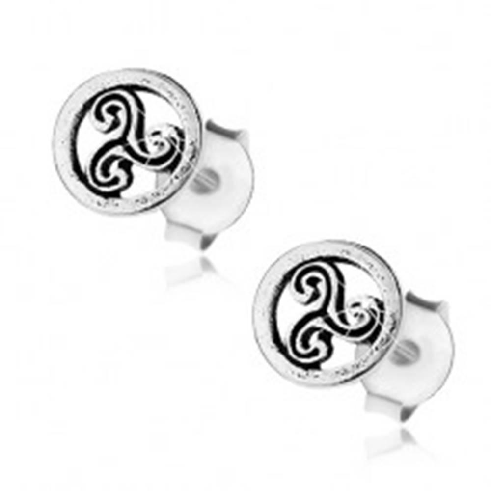 Šperky eshop Náušnice zo striebra 925, patinovaný kruh s keltským symbolom, puzetky