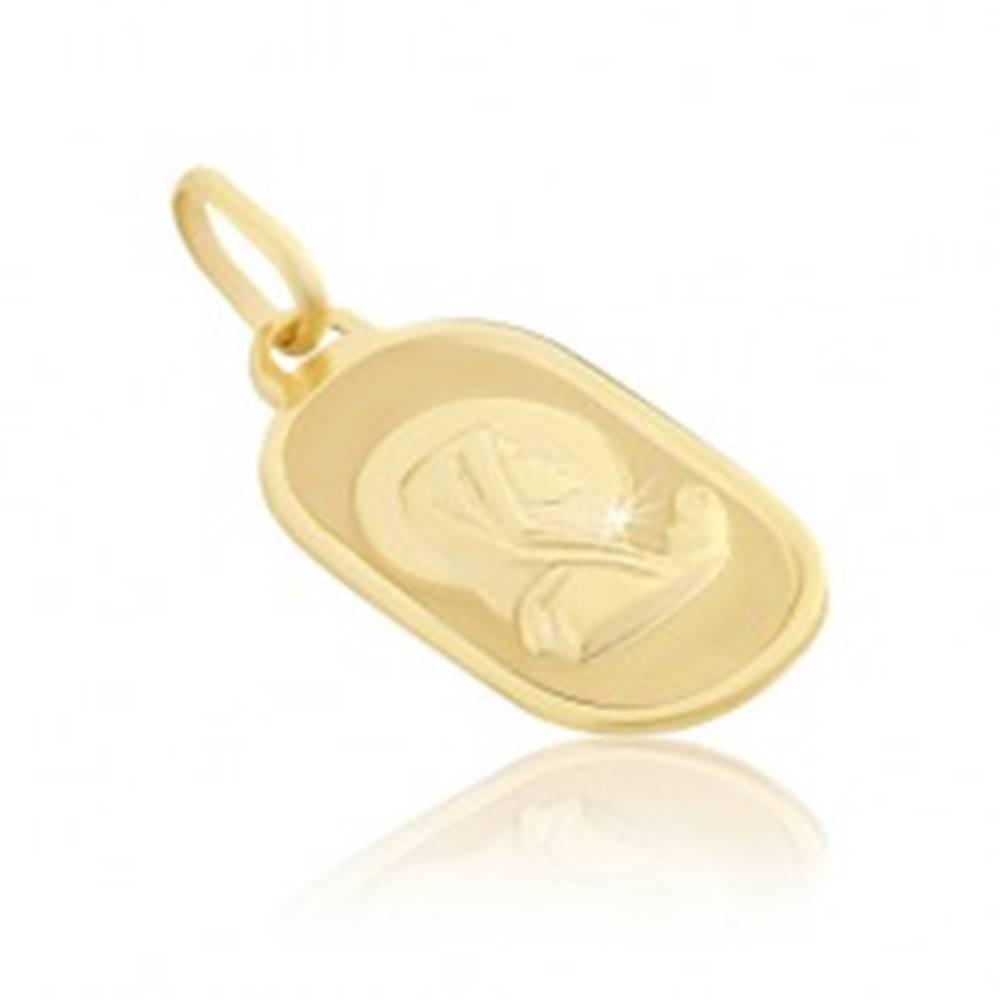 Šperky eshop Prívesok zo zlata 14K - modliaca sa Madona na oválnej známke