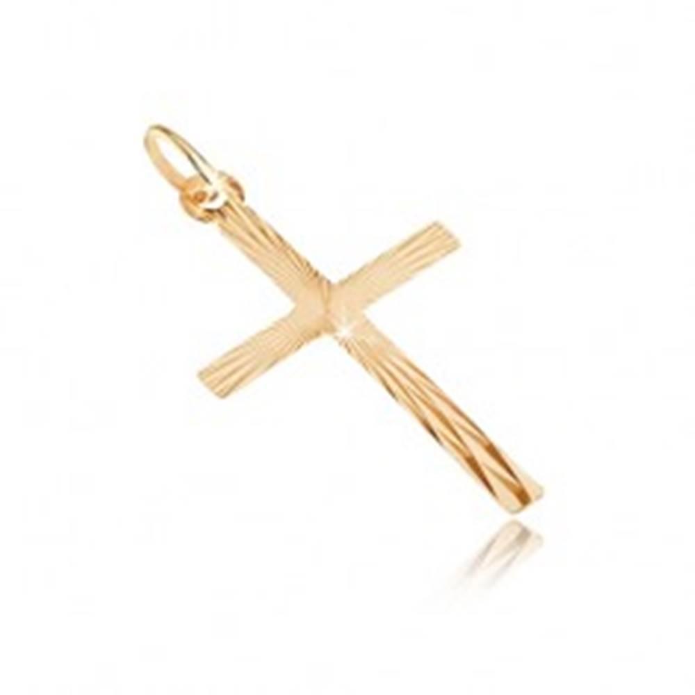 Šperky eshop Prívesok zo zlata 14K - veľký latinský kríž, lúčovité zárezy