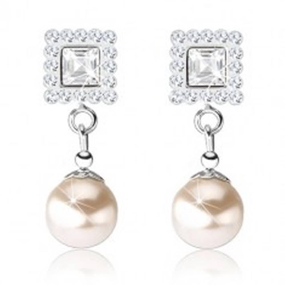 Šperky eshop Puzetové náušnice, striebro 925, číre krištáliky Preciosa, perla