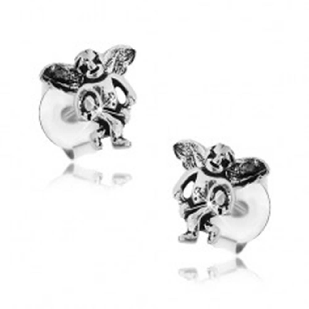 Šperky eshop Puzetové náušnice zo striebra 925, malý anjelik zdobený čiernou patinou