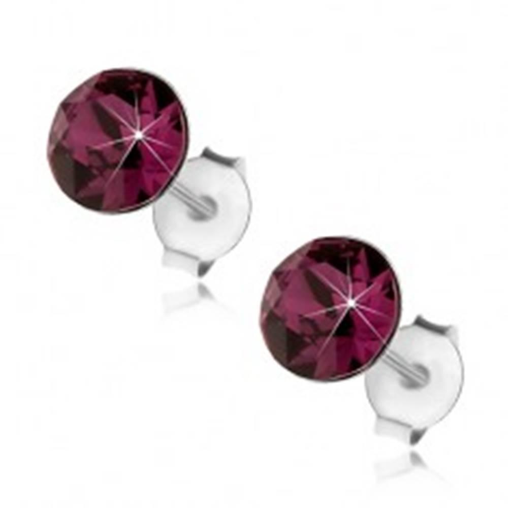 Šperky eshop Strieborné 925 náušnice, okrúhly fialový krištáľ Swarovski, 6 mm