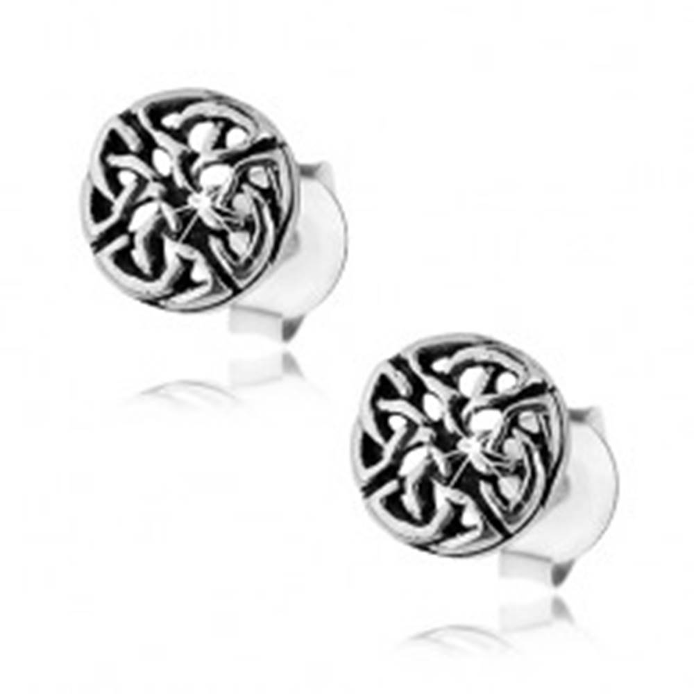 Šperky eshop Strieborné 925 náušnice, patinovaný keltský uzol, puzetové zapínanie