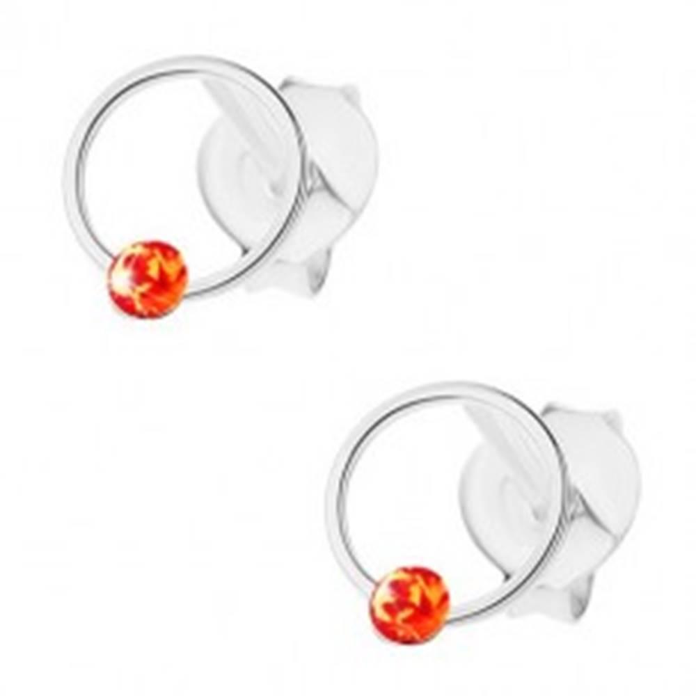Šperky eshop Strieborné 925 náušnice, úzka obruč s oranžovým krištáľom Swarovski