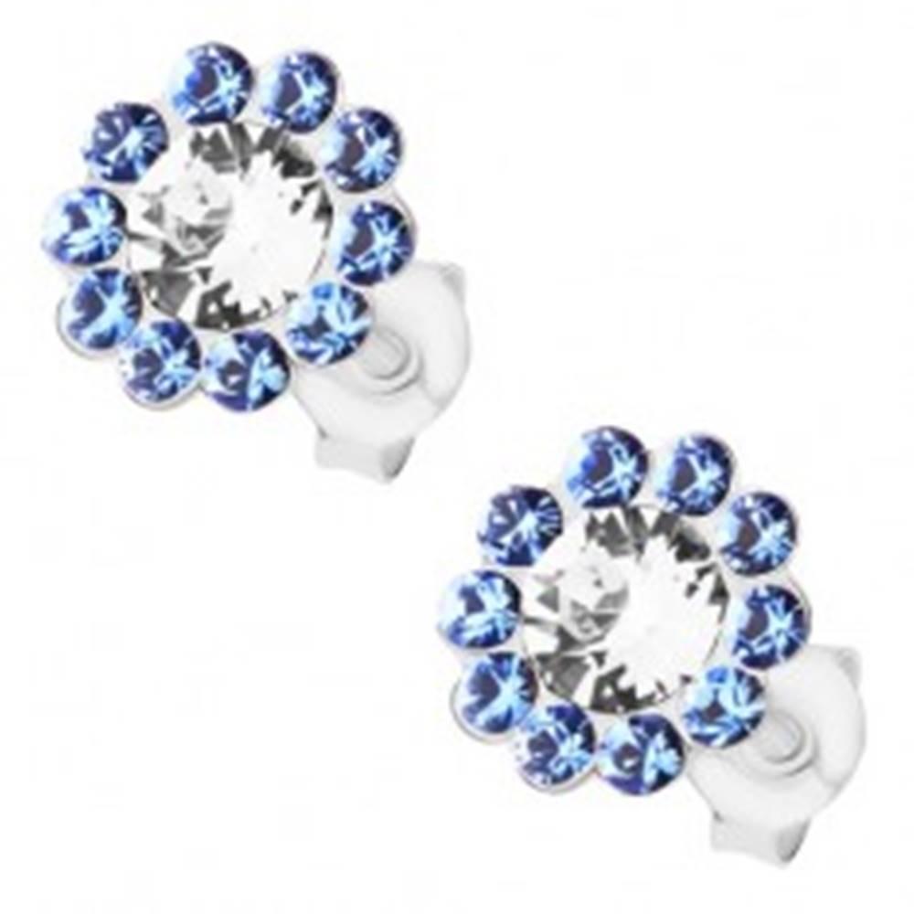 Šperky eshop Strieborné náušnice 925, ligotavý kvet, číre a modré Preciosa krištále