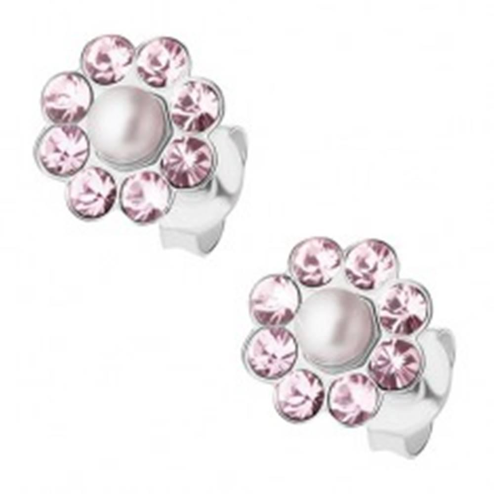 Šperky eshop Strieborné náušnice 925, svetlofialový kvietok s bielou guľatou perlou