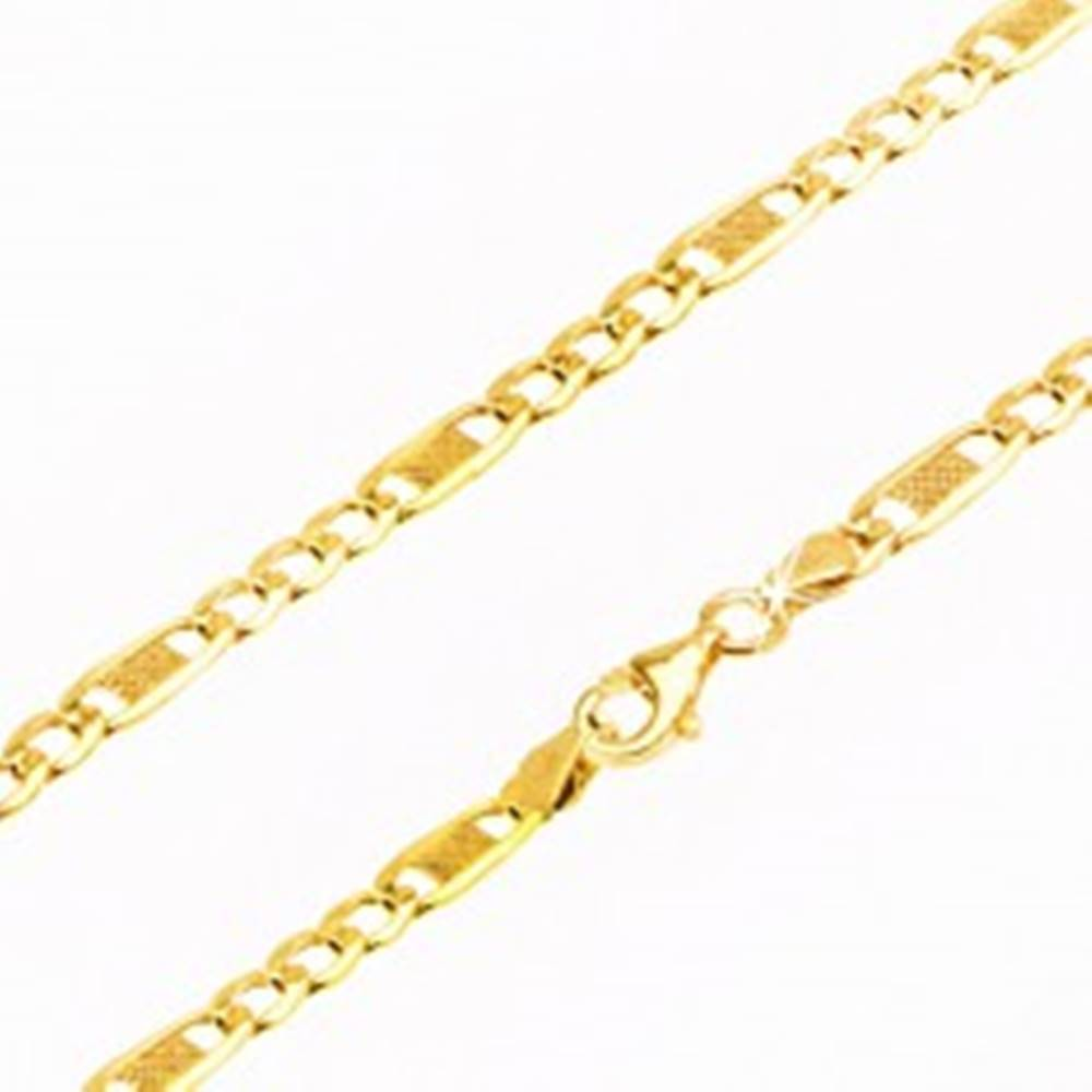 Šperky eshop Zlatá retiazka 585 - tri sploštené očká a jeden dlhší článok s mriežkou, 450 mm