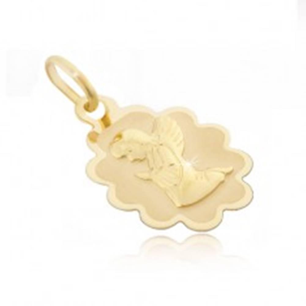 Šperky eshop Zlatý prívesok 585 - známka s vrúbkovaným lemom a kľačiacim anjelom