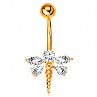 Piercing do bruška zo žltého 14K zlata - vážka so zirkónovými krídlami čírej farby