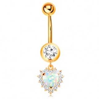 Zlatý 14K piercing do pupku - okrúhly zirkón v objímke, opálové srdce s čírym lemom