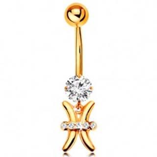 Zlatý 585 piercing do bruška - číry zirkón, lesklý symbol zverokruhu - RYBY