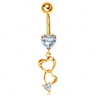 Zlatý 585 piercing do bruška - kontúry sŕdc a číre zirkónové srdiečka
