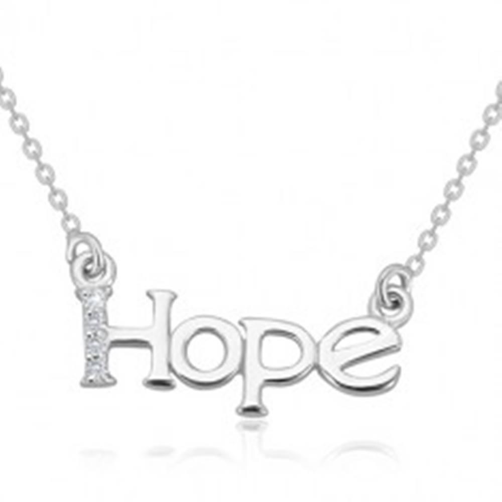 """Šperky eshop Náhrdelník zo striebra 925 - ligotavá retiazka, nápis """"Hope"""" s diamantovou líniou"""