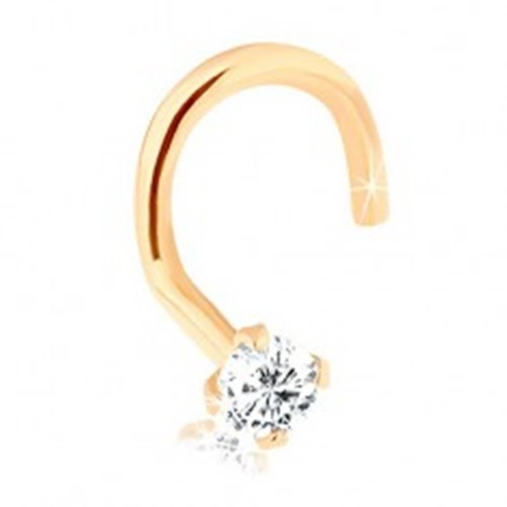 Šperky eshop Piercing do nosa z 9K zlata, zahnutý, s ligotavým diamantom, 1,5 mm