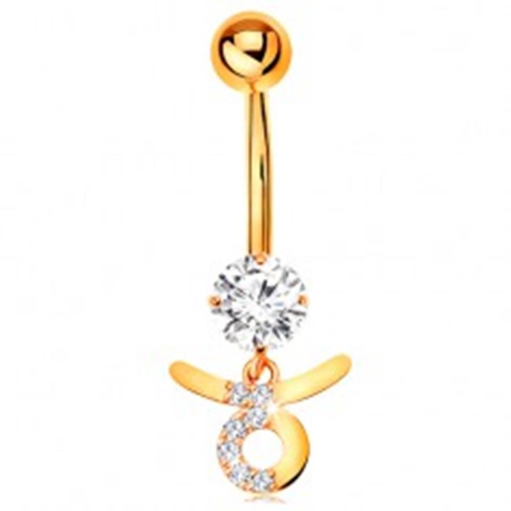 Šperky eshop Piercing do pupku v žltom 14K zlate - číry zirkón, symbol znamenia BÝK