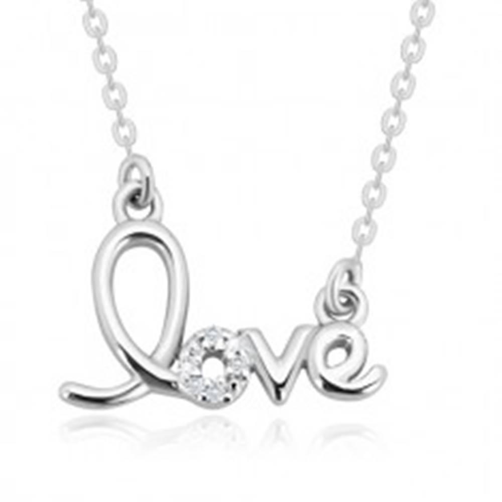"""Šperky eshop Strieborný náhrdelník 925 - ozdobne tvarovaný nápis """"love"""", ligotavé brilianty"""