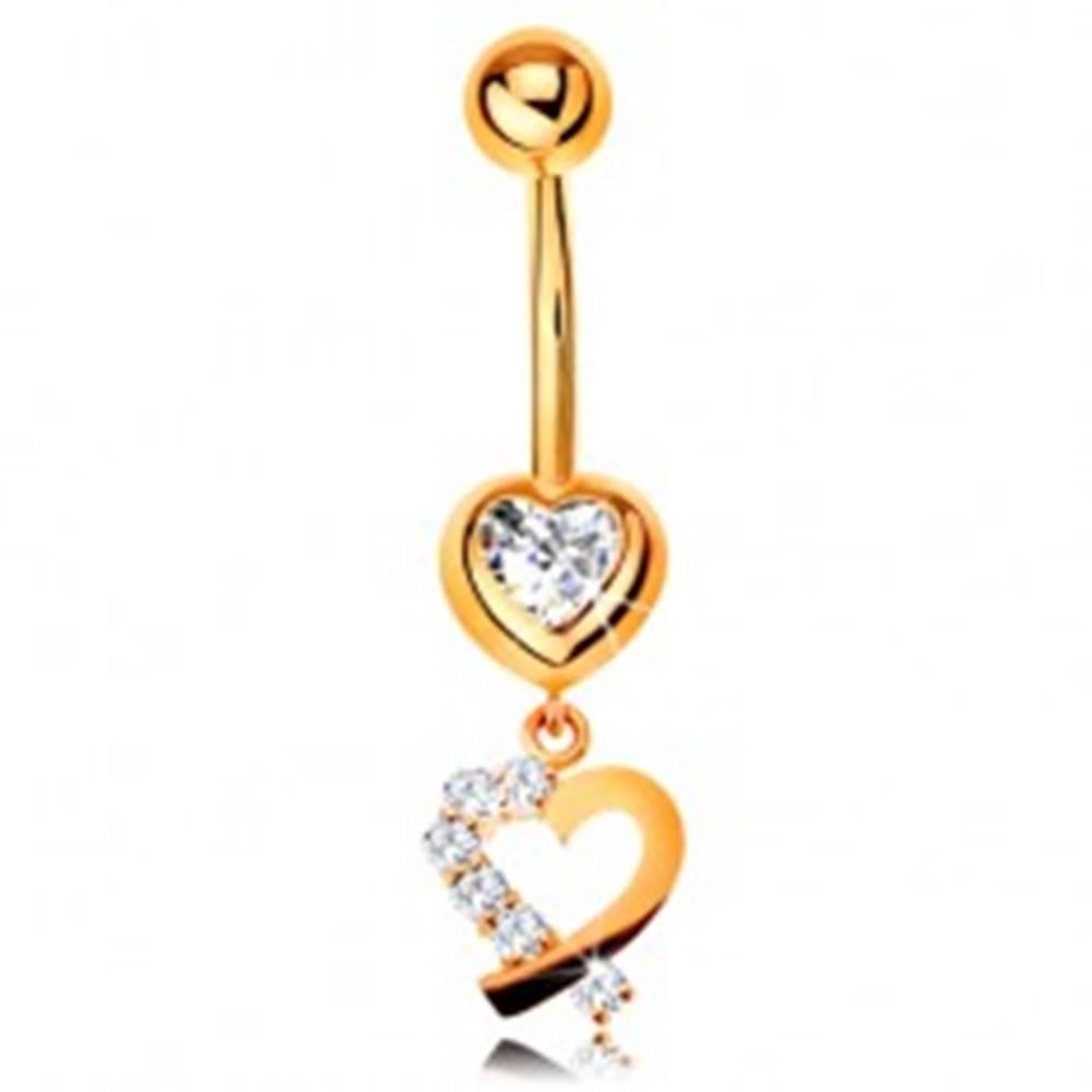 Šperky eshop Zlatý 14K piercing do bruška - zirkónové srdce, obrys srdiečka s trblietavou polovicou