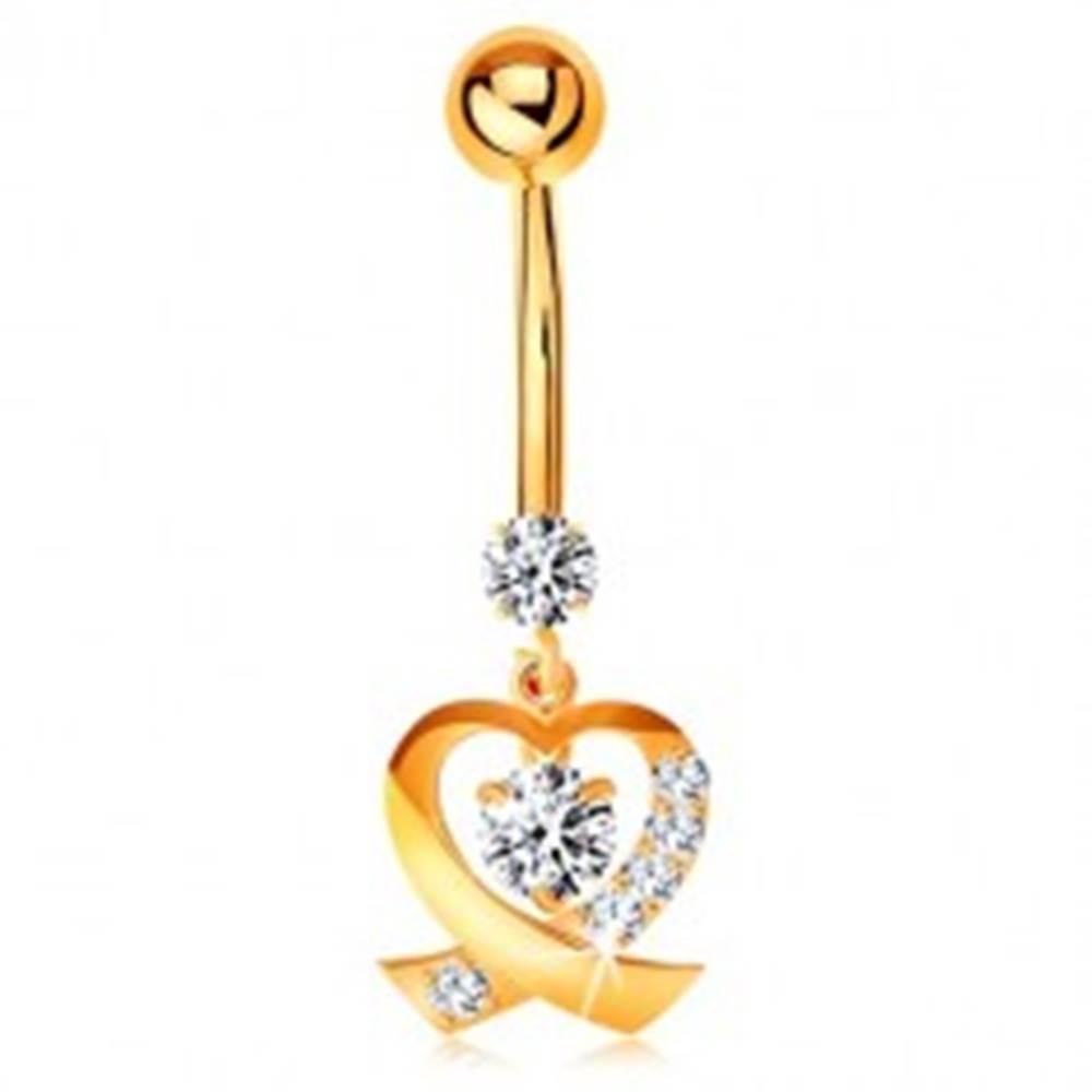 Šperky eshop Zlatý 14K piercing do pupka - ligotavá kontúra srdiečka, okrúhle číre zirkóny