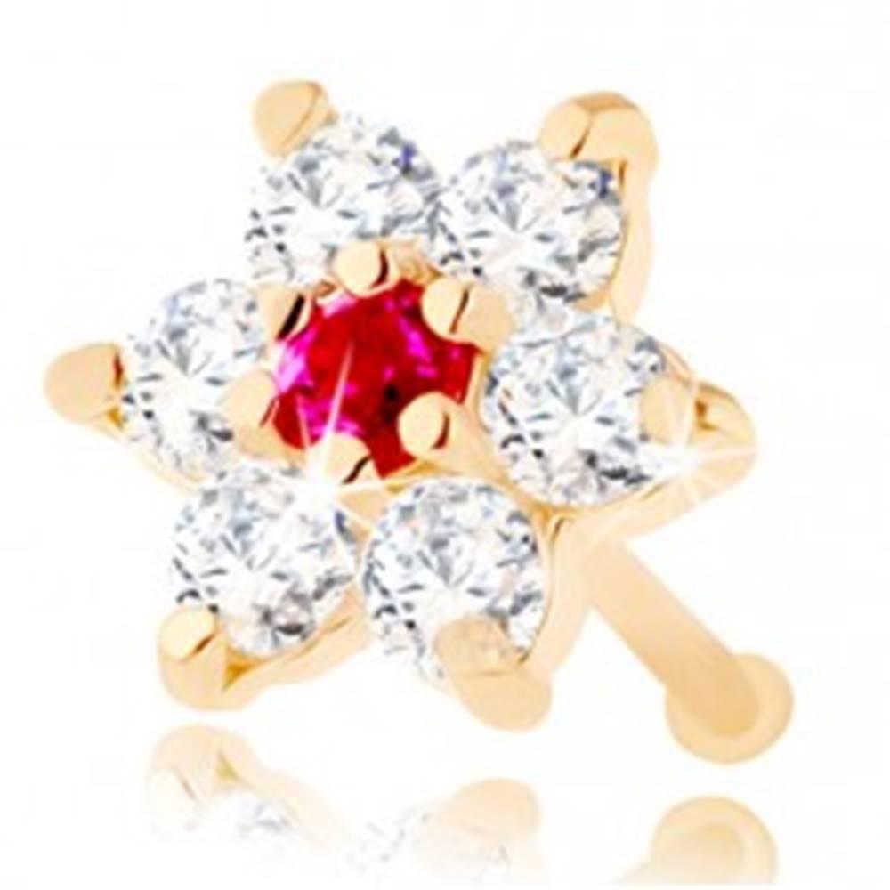 Šperky eshop Rovný piercing do nosa zo žltého 14K zlata - kvietok zo zirkónov a rubínu
