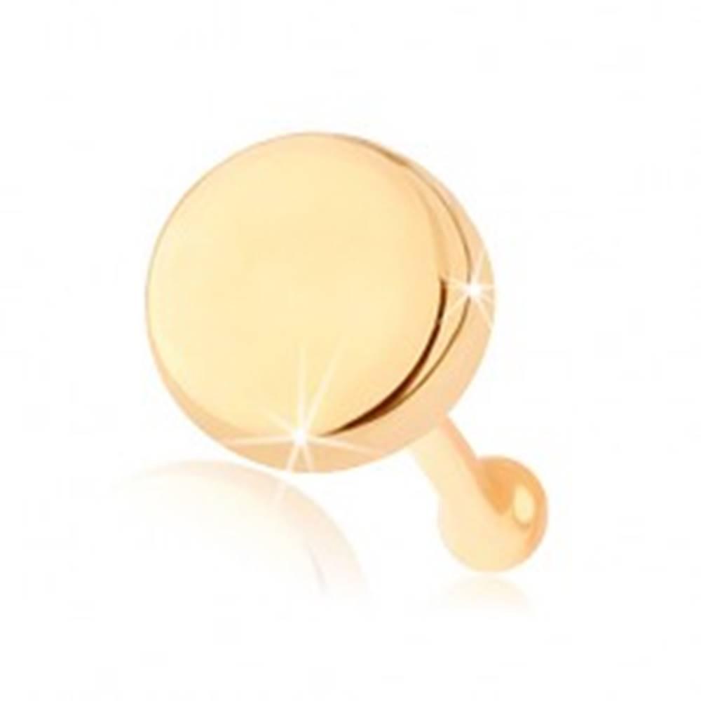 Šperky eshop Rovný piercing do nosa zo žltého 14K zlata - plochý lesklý kruh