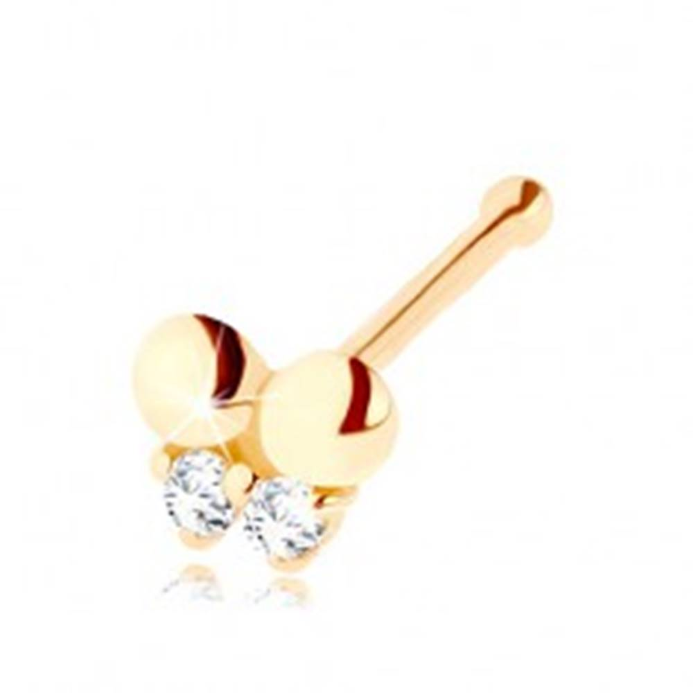 Šperky eshop Zlatý piercing do nosa 585, rovný - motýlik zdobený čírymi zirkónikmi