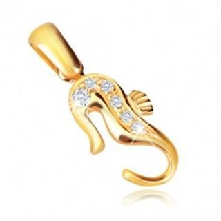 Zlatý 14K prívesok - morský koník so zirkónmi na chrbte