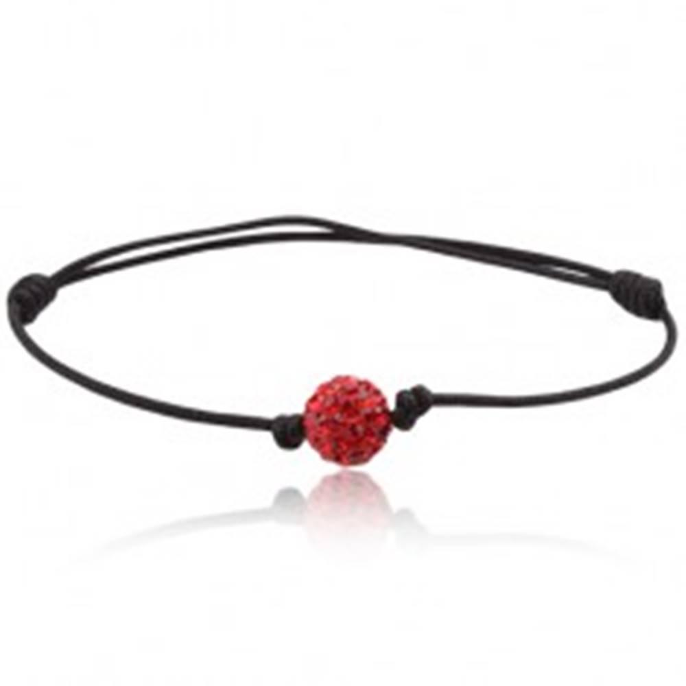 Šperky eshop Náramok Shamballa, čierna šnúrka s červenou zirkónovou guličkou