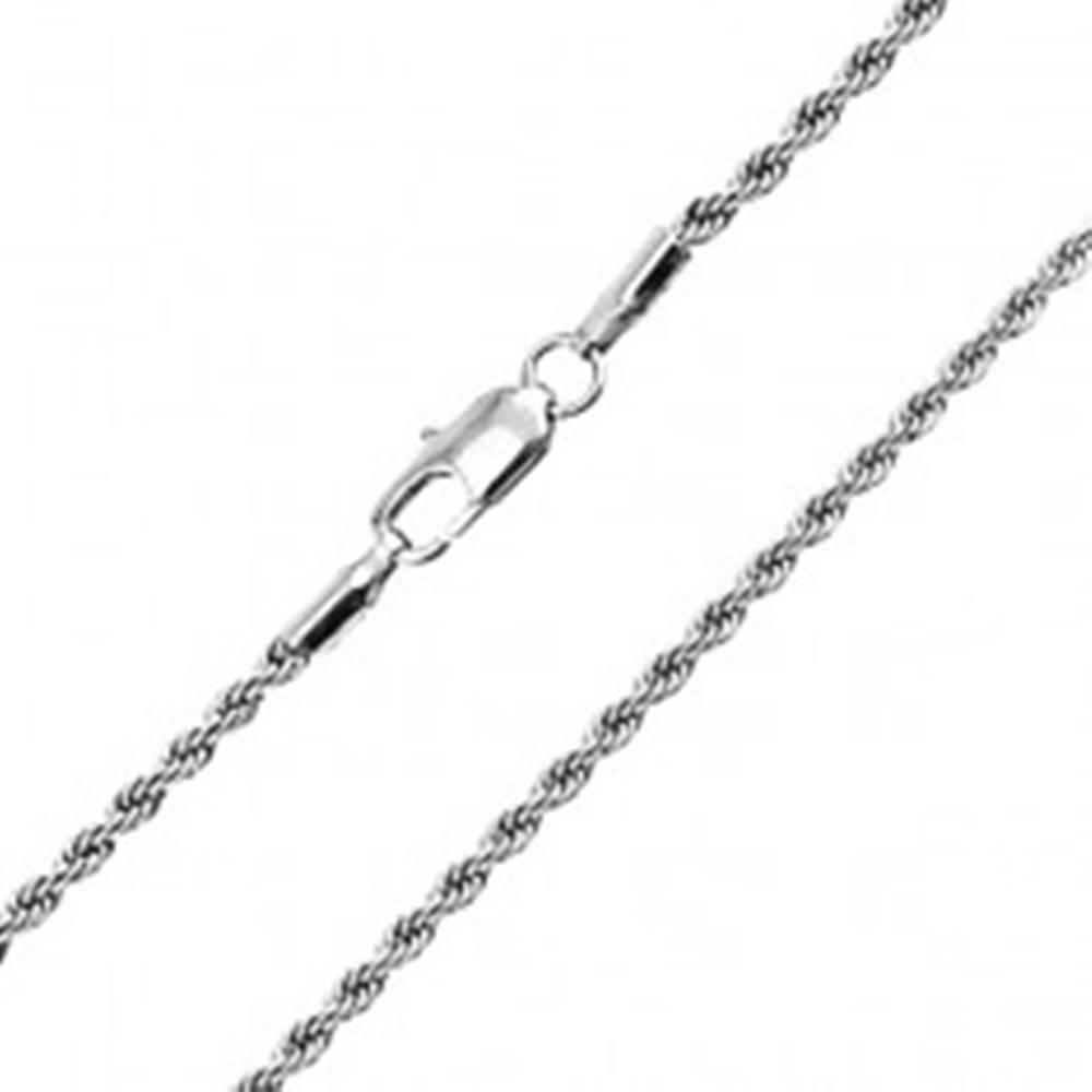 Šperky eshop Oceľová prepletaná dvojretiazka - trblietavé očká, 2,3 mm