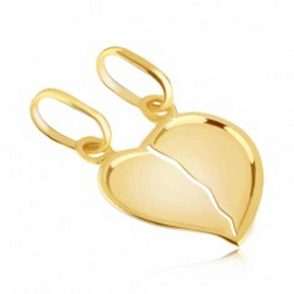 Šperky eshop Prívesok zo zlata 14K pre pár - zlomené lesklé srdce s výrazným okrajom