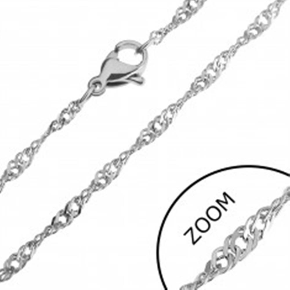 Šperky eshop Točená oceľová retiazka - ploché štvorce, 1,8 mm