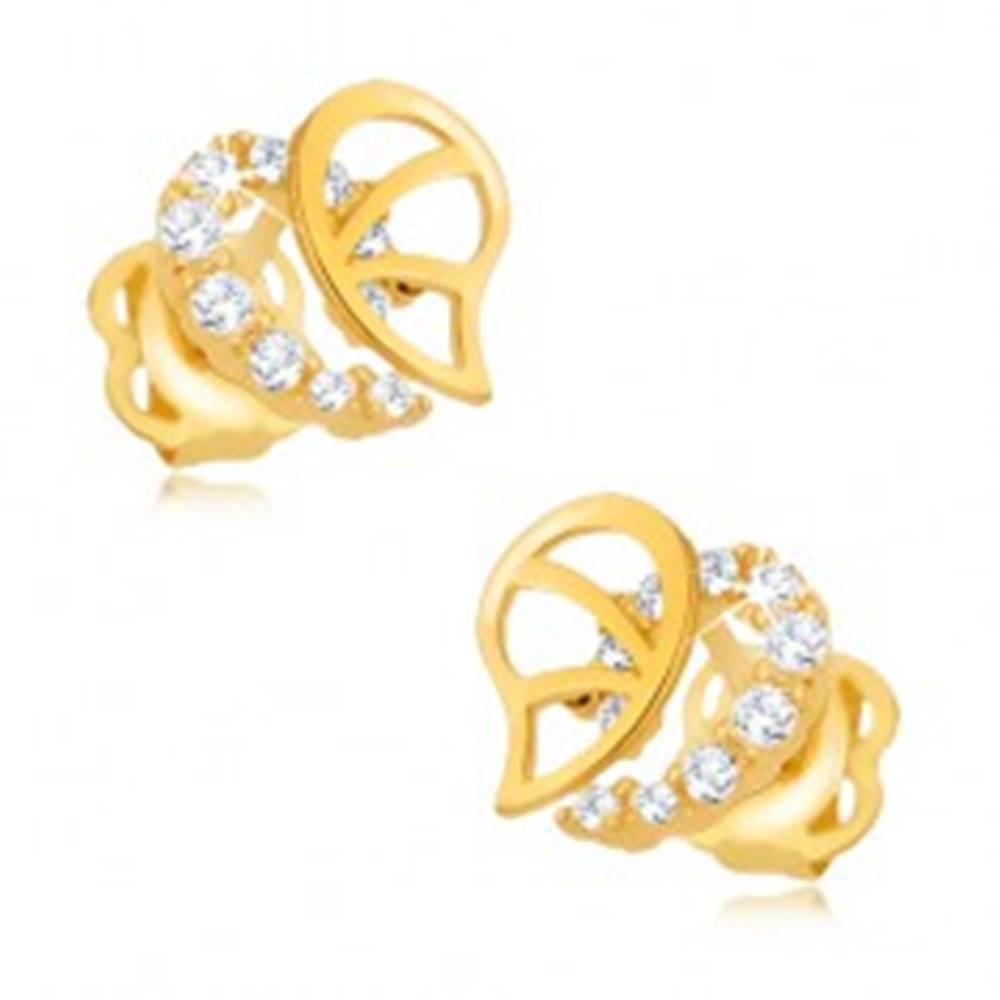 Šperky eshop Zlaté náušnice 375 - nepravidelná kontúra srdca, výrezy, zirkóny