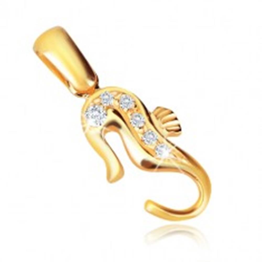 Šperky eshop Zlatý 14K prívesok - morský koník so zirkónmi na chrbte