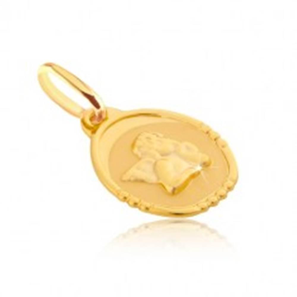Šperky eshop Zlatý prívesok 585 - oválna známka s bucľatým anjelikom