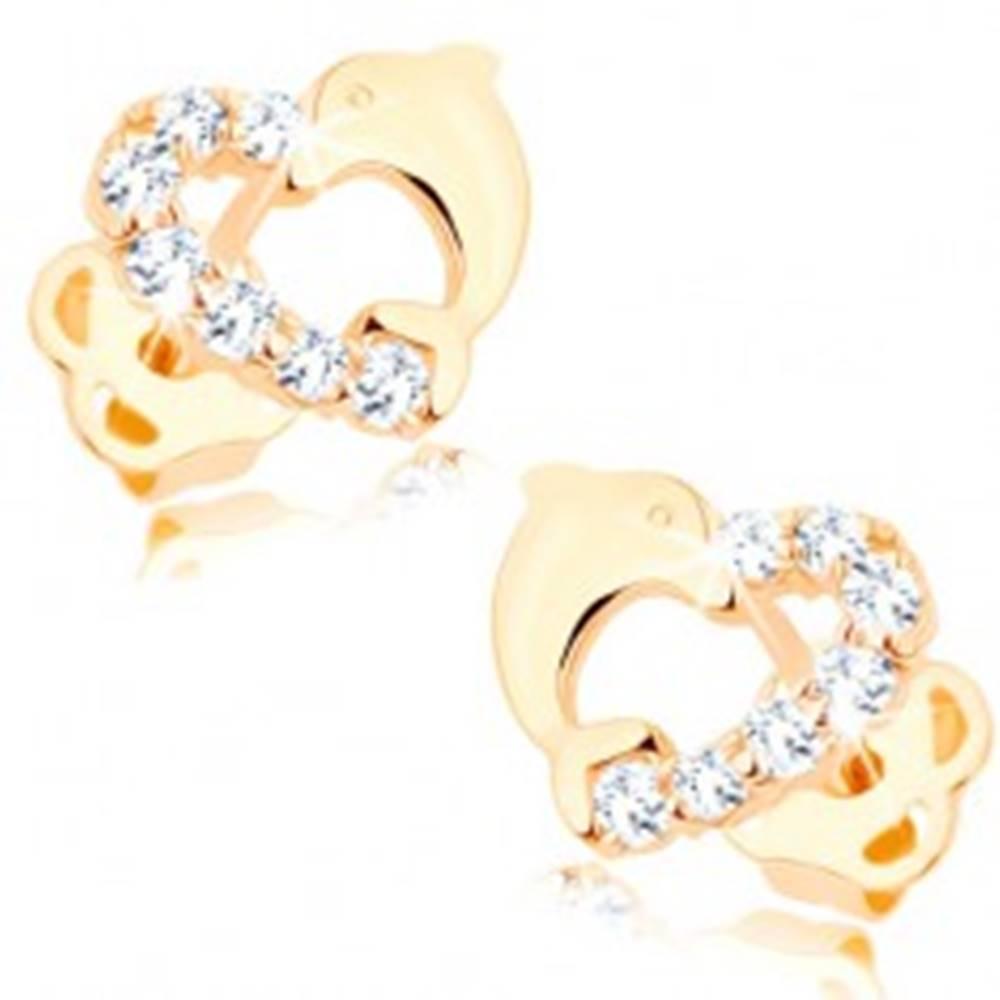 Šperky eshop Briliantové zlaté náušnice 585 - obrys srdiečka s líniou diamantov a delfínom