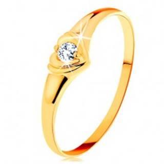 Diamantový zlatý prsteň 585 - ligotavé srdiečko so vsadeným okrúhlym briliantom - Veľkosť: 50 mm