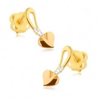 Lesklé zlaté náušnice 375 - zlatoružové srdiečko na stopke, kamienky