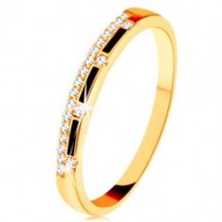 Prsteň zo žltého 9K zlata - pásy čiernej glazúry, číra zirkónová línia - Veľkosť: 50 mm