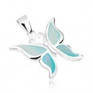 Strieborný prívesok 925, motýlik s krídlami zdobenými modrou perleťou