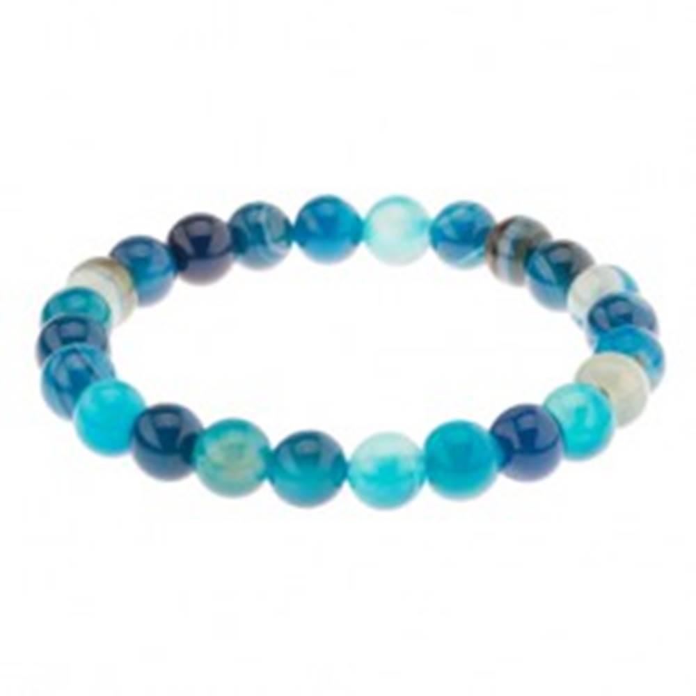 Šperky eshop Elastický náramok, guľôčky modrej farby z achátu na priehľadnej gumičke