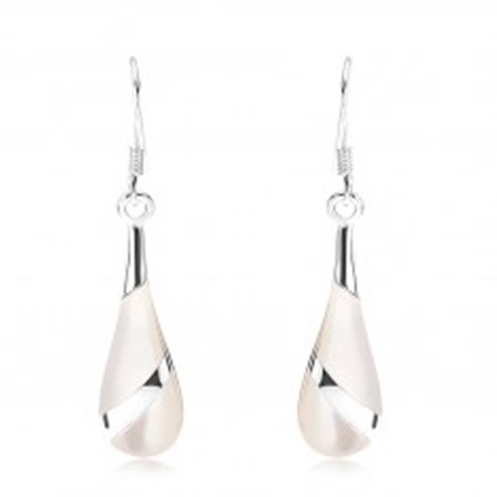 Šperky eshop Náušnice - striebro 925, perleťová slza, strieborný pásik, africké háčiky