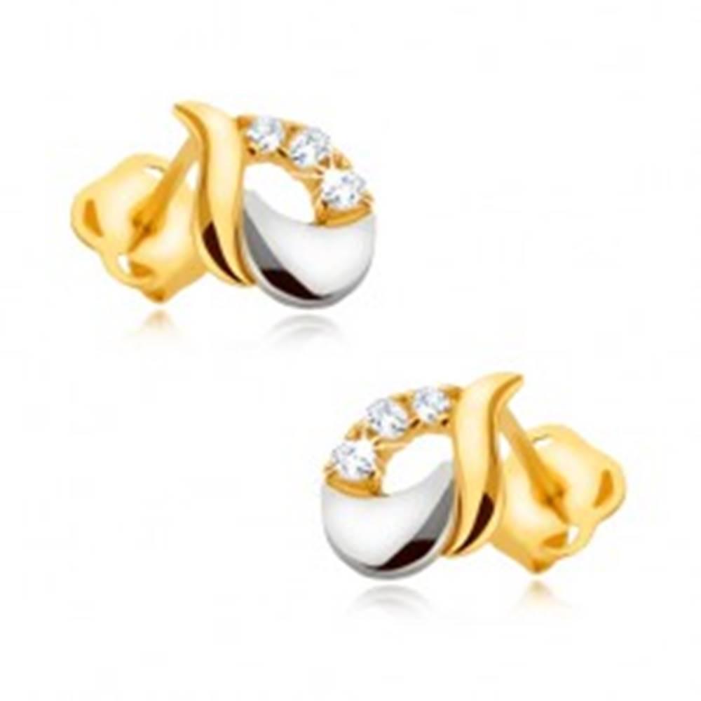 Šperky eshop Náušnice z 9K zlata - lesklá slza z bieleho a žltého zlata, tri zirkóny